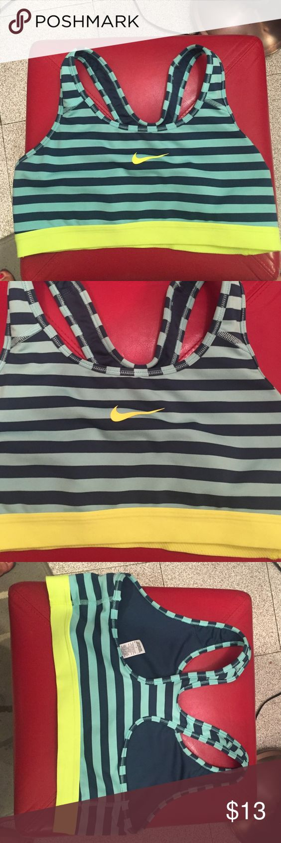 Nike sports bra Nike striped sports bra, worn a few times, size large Nike Intimates & Sleepwear Bras