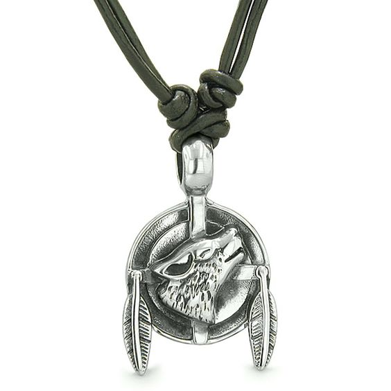 Howling Wolf Dreamcatcher Protection Powers Lucky Charm Leather Pendant Necklace