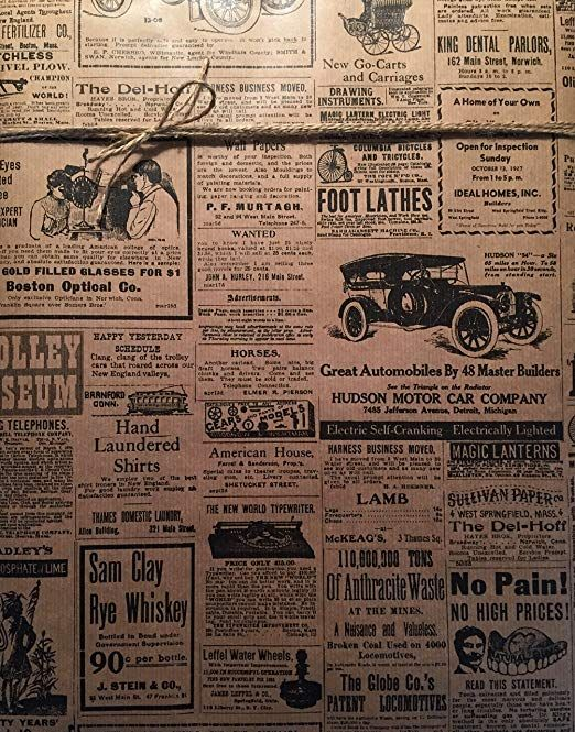 Amazon Com Vintage Newspaper Wrapping Paper 24 X 20 Ft Roll Beautiful Quality Newspaper Print Gi Newspaper Wrapping Printed Gift Wrapping Vintage Newspaper
