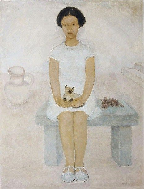 Andrée Bosquet (1900-1980) Girl and Cat