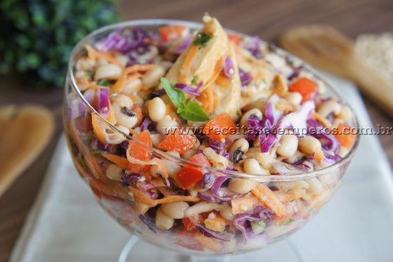 Salada de Feijão Fradinho com frango | Receitas e Temperos