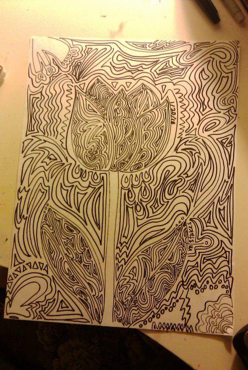 tulip sharpie line drawing