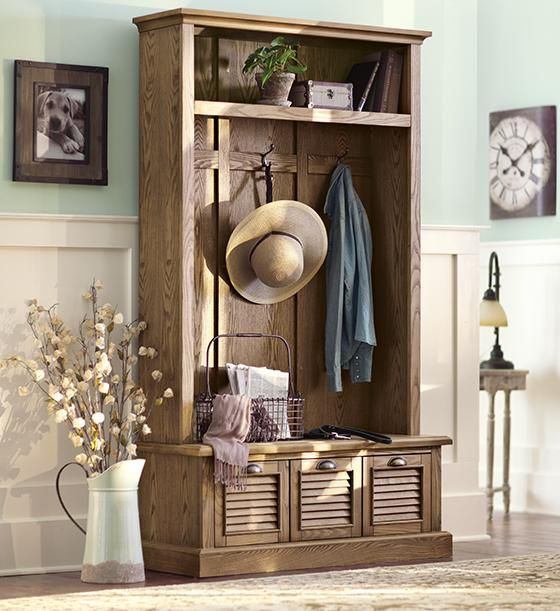 Shutter locker storage hall trees entryway furniture for Furniture for the foyer entrance