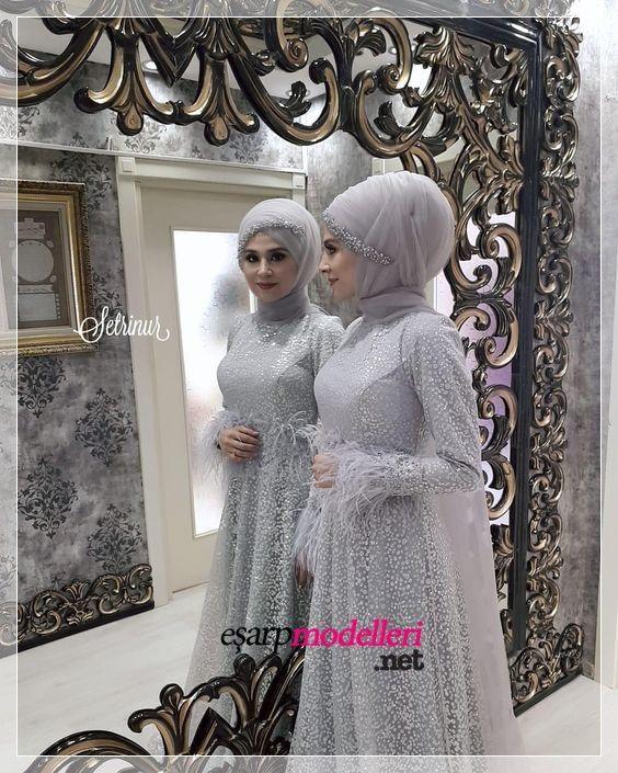 Tul Islemeli Genc Tesettur Abiye Modeli Tesettur Abiye Modelleri 2020 Wedding Hijab Styles Wedding Hijab Hijab Gown