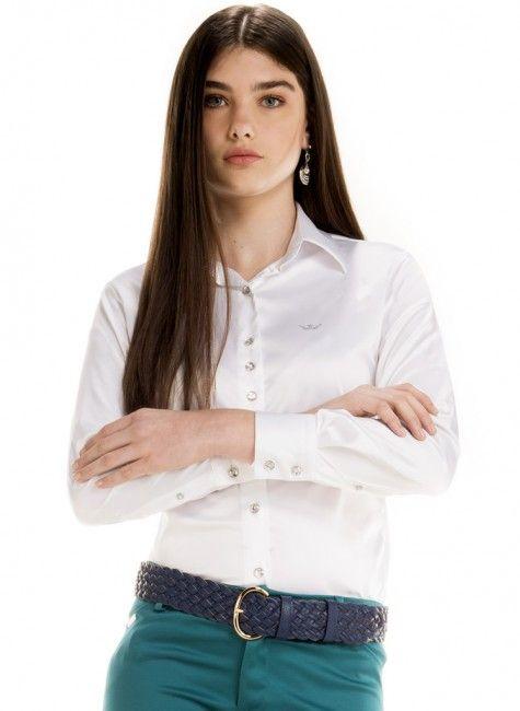camisa cetim branca feminina principessa aurea look