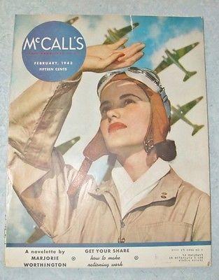 VTG 40's WW II Era McCall's Magazine~Feb 1943~Woman Pilot~Aircraft Cover~Fashion