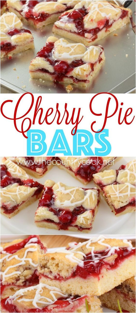 Cherry Pie Bars Dessert Recipe via The Country Cook - A homemade recipe that is easy to make and serve. Everyone loves them! Switch out the pie filling to easily change up the recipe! #dessertbars #cookiebars #barsrecipes #dessertforacrowd #partydesserts #christmasdesserts #holidaydesserts #onepandesserts