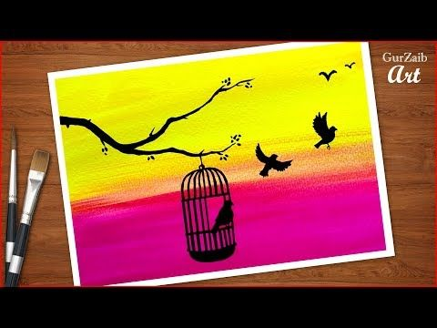 How To Draw Birds Want Freedom Birds In Cage Drawing Poster