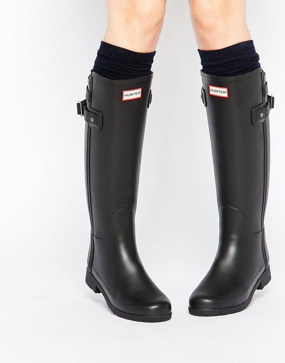 Hunter   Hunter Original Refined Back Strap Black Wellington Boots at ASOS