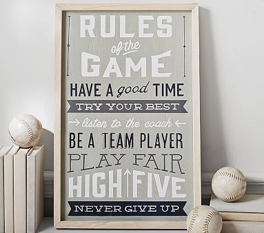Inspired by a vintage game sign, this upbeat wall art encourages kids to try hard and have fun.