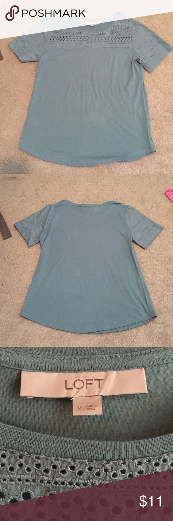 Loft top Blue loft top with cute crochet detail on top and sleeves. NWOT never worn LOFT Tops