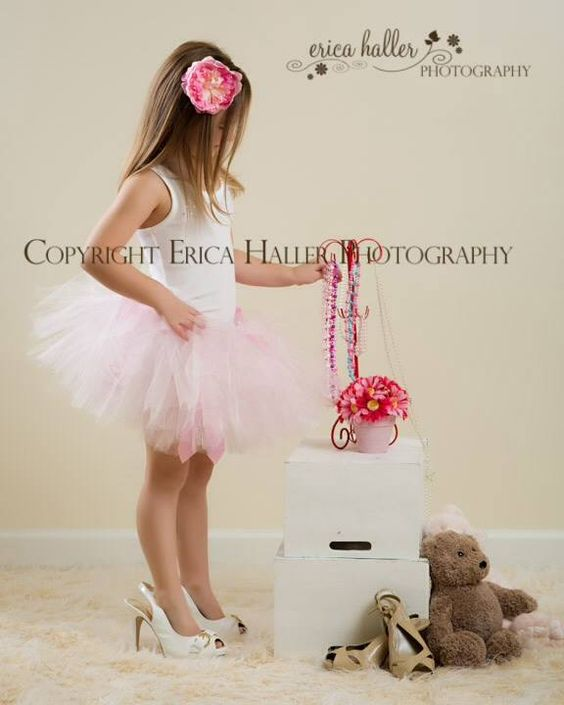 Little Girls Photography Tutu In High Heels Playing With