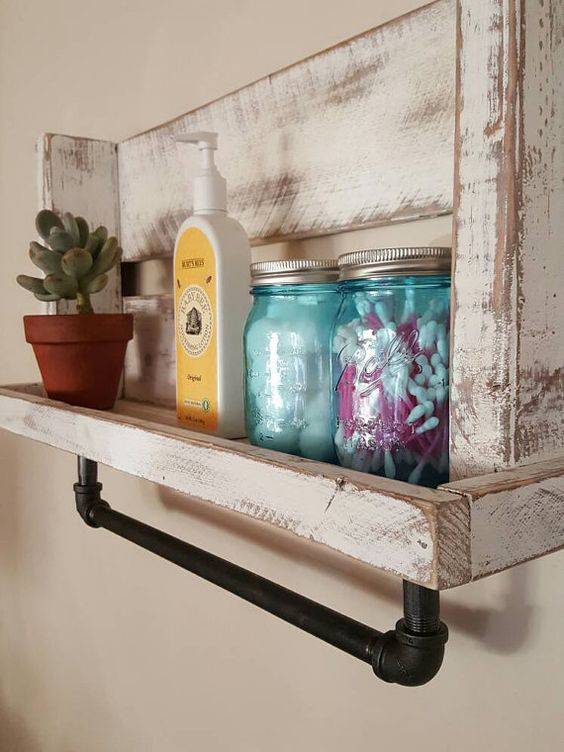 Rustic bathroom shelf with pipe towel hanger by for Bathroom ideas made from pallets