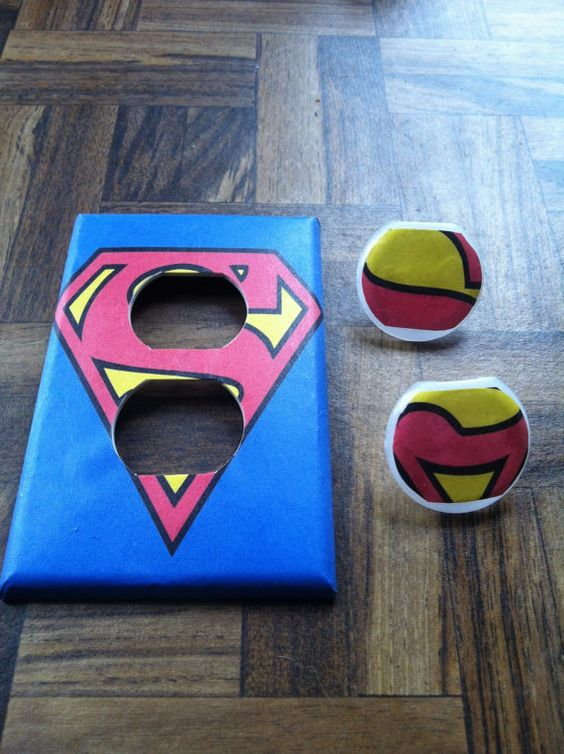 Hey, I found this really awesome Etsy listing at http://www.etsy.com/listing/129930292/superman-outlet-cover-plate-with-plugs