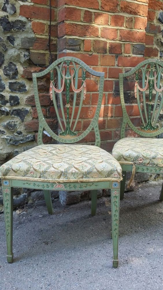 A pair of painted shield back chairs Sold £100 #BourneEndAuctionRooms