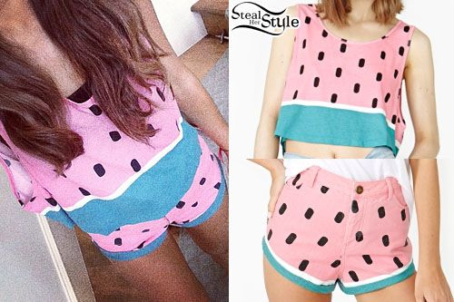 photo posted by Ariana Grande on instagram  Watermelon Shirt And Shorts : Ariana Grande Style : Fashion