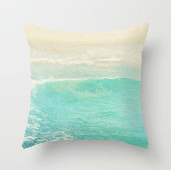 Modern Beach Pillow : Beach cottage decor, pillow cover, peppermint blue ocean wave, beach photography, nautical ...