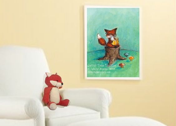 2014 #Nursery Trend: This is the year of the fox in nursery design, so we love this @Jenny Dale Designs Fox Art Print! #whatdoesthefoxsay