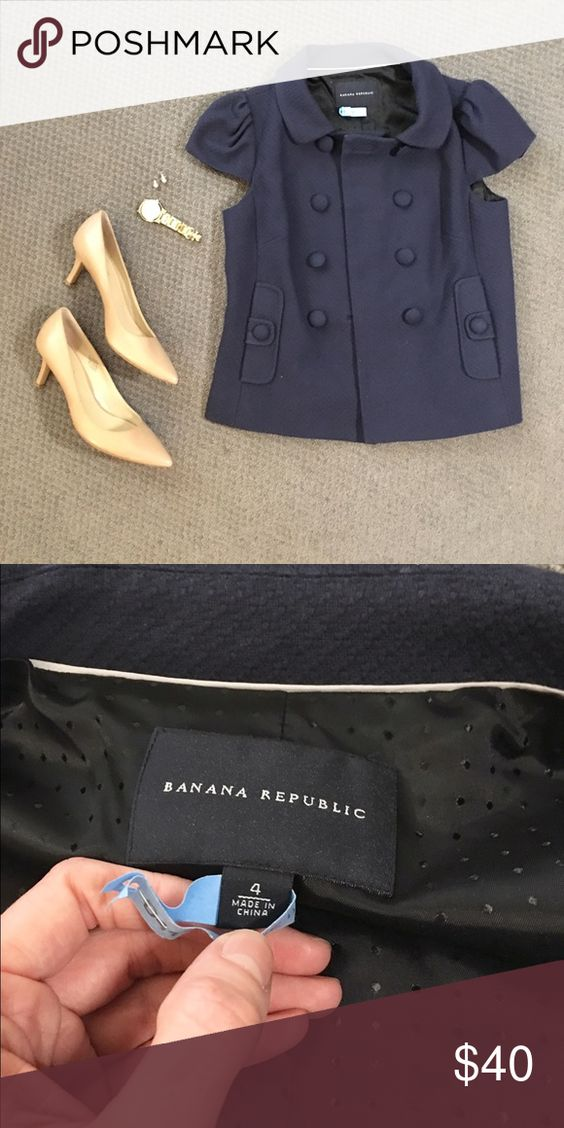 Banana Republic navy cap-sleeve jacket 💙 Banana Republic navy cap-sleeve jacket. Never worn, NWOT!! Size 4. Been in my closet for a while so I recently got it dry cleaned. Slightly too big for me, otherwise I would keep it! Shell is 100% cotton. Lining is 50% nylon, 50% acetate. Extra button inside. Smoke-free home 😊 Banana Republic Jackets & Coats