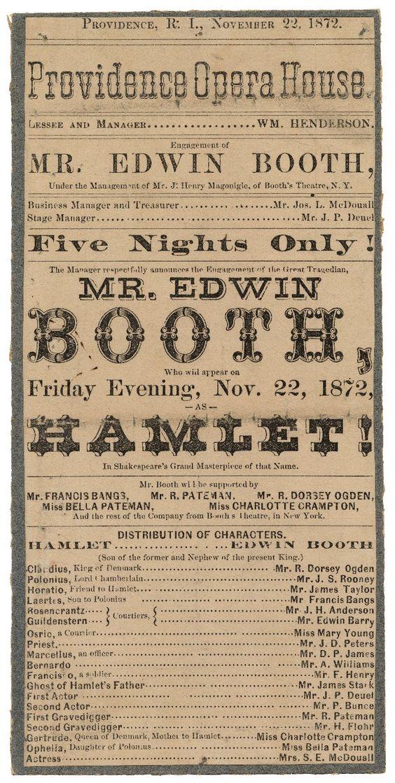 Playbill for Hamlet November 1872