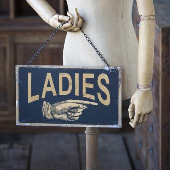 $34 ladies and gentlemen metal vintage bathroom gender signs