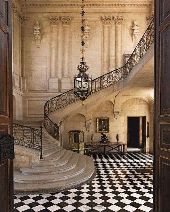 The Grand Staircase Hall of The Château d'Anet in northern France, built by Philibert de l'Orme from 1547 to 1552 for Diane de Poitiers,…