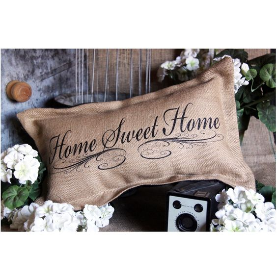 "There's no place quite like home. Show your appreciation for your home with the home sweet home burlap pillow. A sweet touch with a French country feel.  <BR><BR> • Burlap <BR> • Beige <BR> • 8""W x 18""H<BR> • Includes poly-fill insert <BR> • Spot clean with delicate soap and rinse with water<BR> • Made in the USA <BR>  <BR>These are made to order. Please allow up to 1-2 weeks for this item to be shipped. Contact us for rush orders."