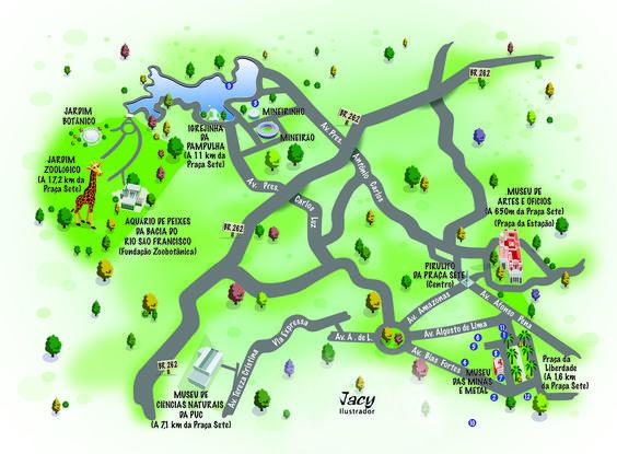 Mapa de localização com alguns pontos turísticos de Belo Horizonte - MG - - Feito em Adobe Illustrator