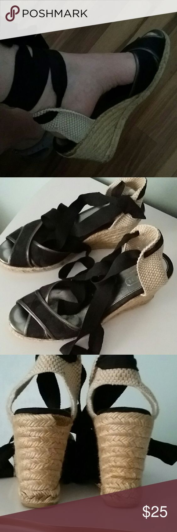 "Coach espadrille shoes  (9b) Cute shoes with a 4 "" heel. Good condition. Coach Shoes Espadrilles"