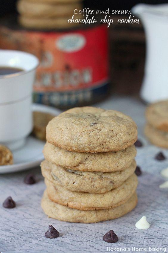 Coffee and cream chocolate chip cookies http://roxanashomebaking.com