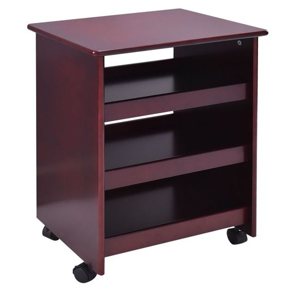 Rolling Wood Storage Cabinet Shelves Display Home Kitchen ...