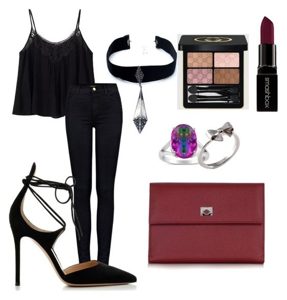 """""""Sofi's Style"""" by marianny-rincon on Polyvore featuring J Brand, Gianvito Rossi, Gucci, Smashbox, Rainbow, Joy Everley, Child Of Wild and Pineider"""