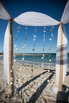 wedding ceremony seashell backdrop