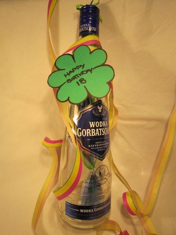 Wodkaflasche tolles geldgeschenk zum 18 geburtstag - Tolles geschenk zum 18 ...