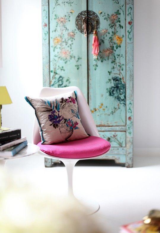 Estilo chino. Mueble estilo chino con decoración floral... precioso.