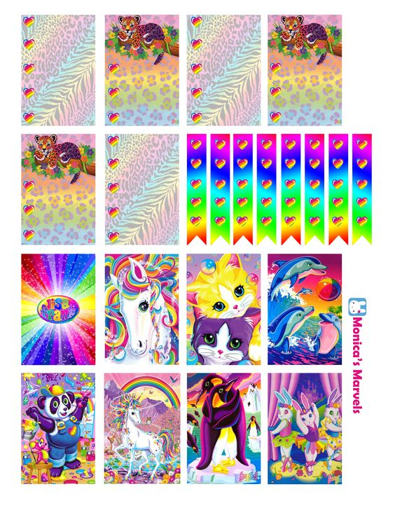 """""""sticker kit"""" Lisa Frank Full Boxes (the happy planner by MAMBI) sticker. Free printable sticker layout may be subject to copyright not intended for retail; personal use only"""