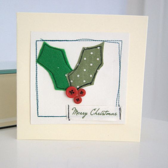 Christmas card holly by dollywhatnot on Etsy, £2.95