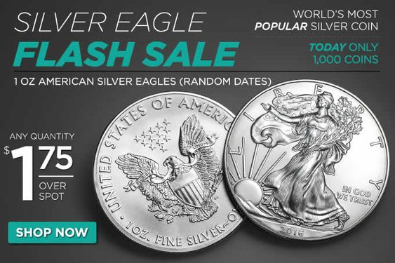 Golden Eagle Coin Flash Sale 1 Oz Silver Eagles Random Dates 1 75 Over Spot Coin Community Forum Silver Eagles Golden Eagle Coins Eagle Coin