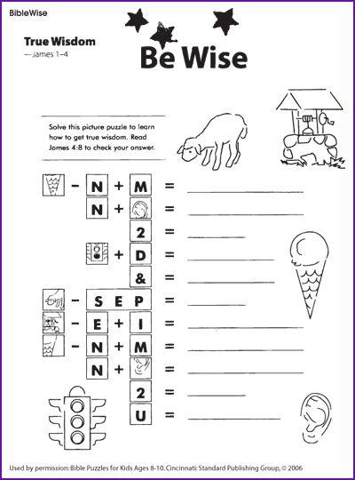 Printables Sunday School Worksheets For Kids true wisdom puzzle kids korner biblewise sunday school biblewise