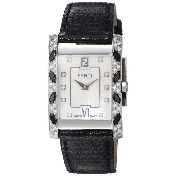 Fendi Women's F701141DZC 'Mosaic' Dial Black Strap Swiss Quartz Watch