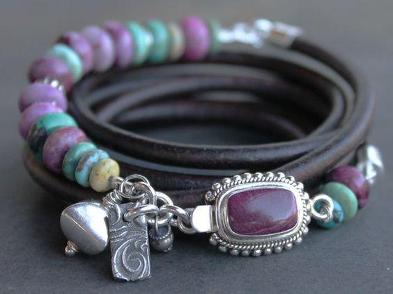 Handwerker-Armband - bunt Türkis, Sugilith, Sterling Silber, lila und Blau…