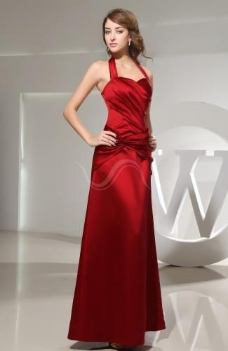 Satin Halter Elegant Prom Dresses - Order Link: http://www.theweddingdresses.com/satin-halter-elegant-prom-dresses-twdn7678.html - Embellishments: Ruching; Length: Ankle Length; Fabric: Satin; Waist: Dropped - Price: 131.99USD