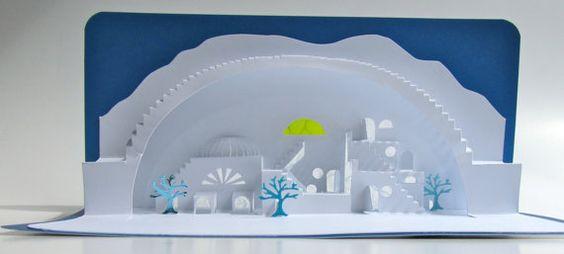 MEDITERRANEAN Scenery 3D Pop Up Model of a Village von BoldFolds