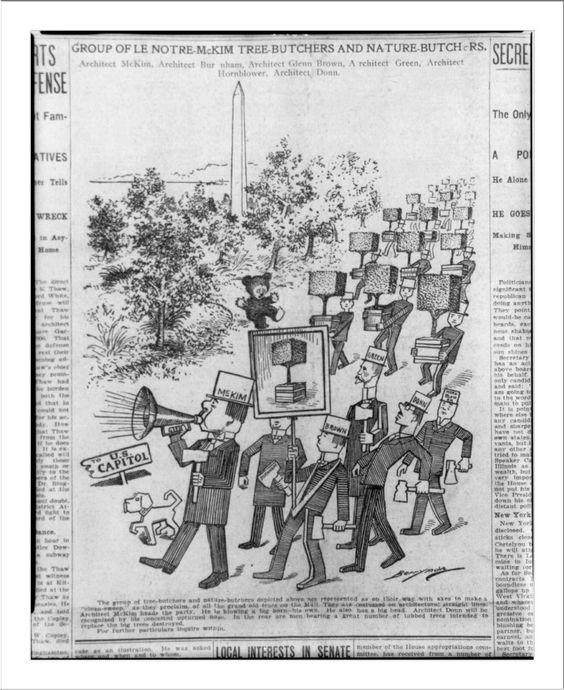 Group of Le Notre-McKim Tree-Butchers and Nature-Butchers. Architect[s] McKim, Burnham, by Clifford Berryman for the Washington Evening Star, 1908