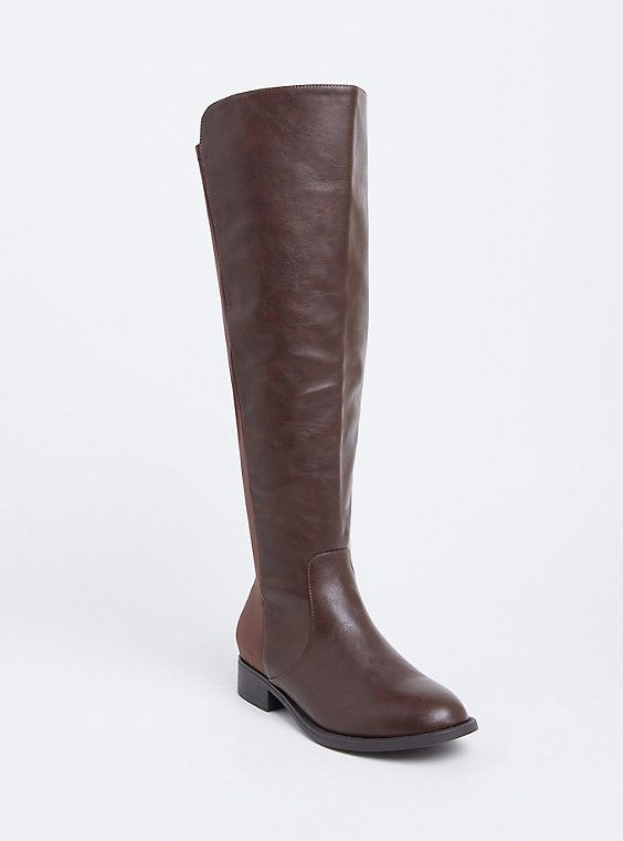 Wide Brown Faux Leather Stretch Back Over the Knee Boot