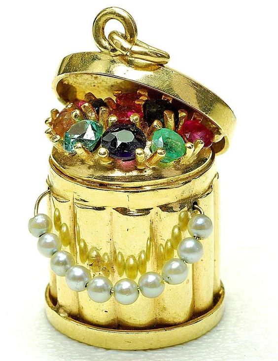 Vintage AMAZING RARE 14k yellow Gold Colorstone & pearl handle GARBAGE CAN charm: