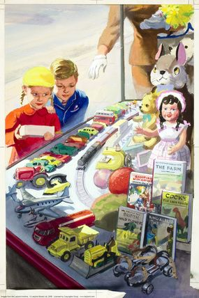 Outside toyshop - Shopping with Mother - Ladybird Books 1958