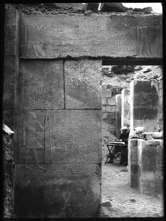Plaque de verre S.31 - Saqqara, Mastaba de Nfr-sšm-rʾ, Montant de porte Sud