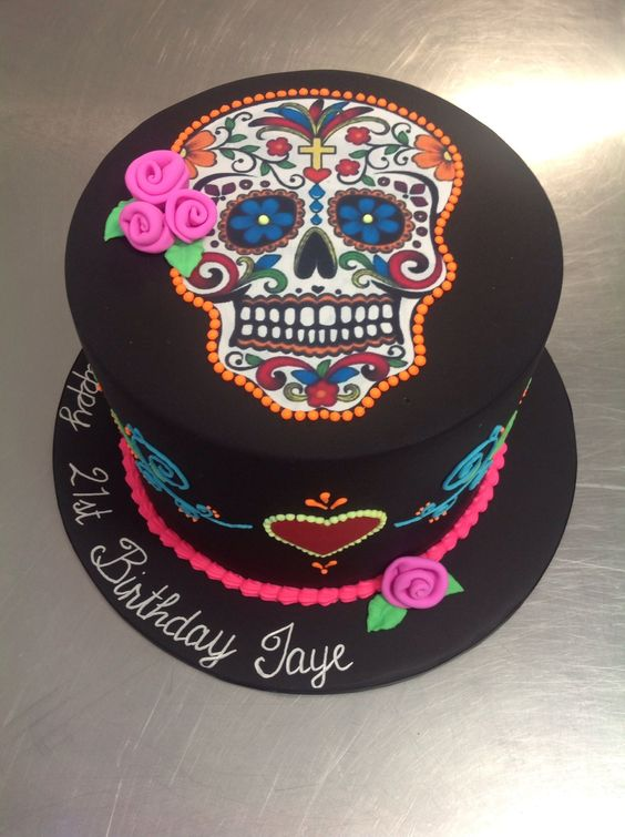 Day of the Dead, skull, Halloween theme cake - Day of the dead, skull, Halloween themed cake with fluoro icing and edible image skull: