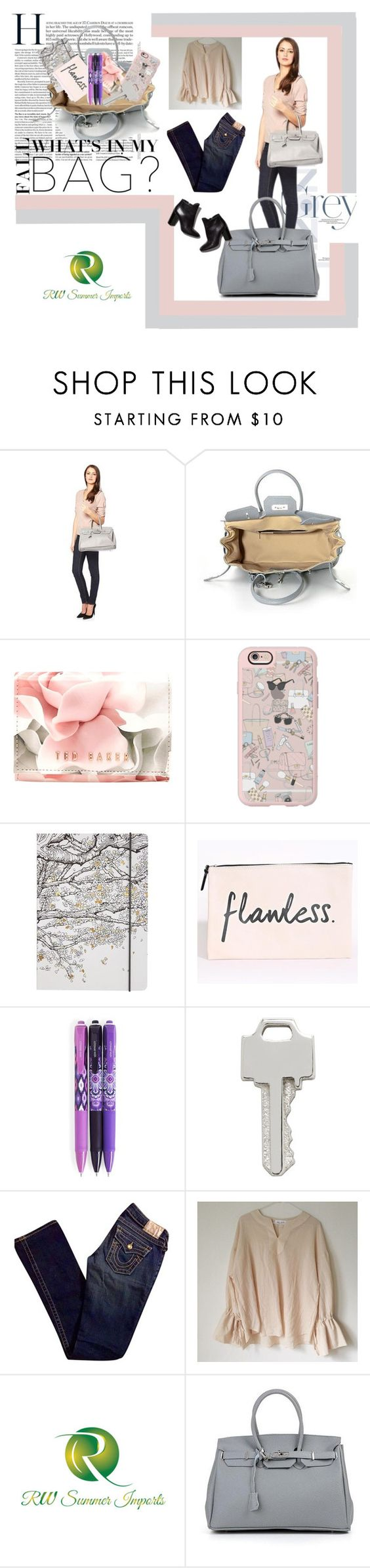 """""""What's in my fall bag?"""" by elisabetta-negro ❤ liked on Polyvore featuring Ted Baker, Casetify, Go Stationery, Vera Bradley, Lauren Klassen, True Religion and Pierre Hardy"""
